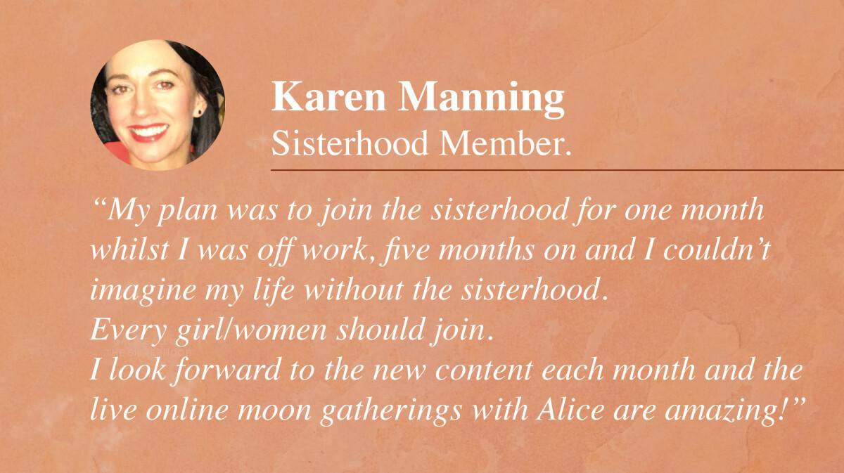 The Sisterhood Astrology Membership testimonial_Karen Manning